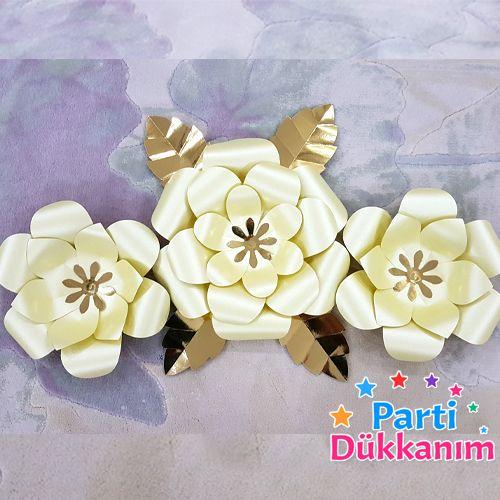 Metalize Sedefli Kağıt Çiçek Seti