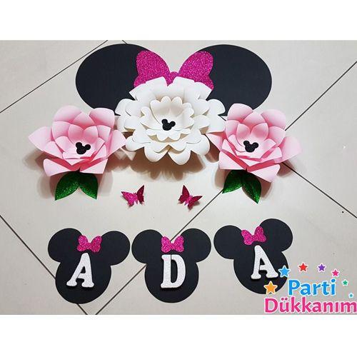Minnie Mouse Kağıt Çiçek Seti Pembe, fiyatı