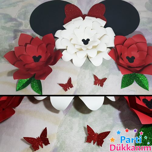 Minnie Mouse Kağıt Çiçek Seti Kırmızı, fiyatı