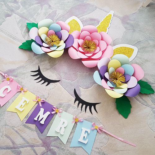Unicorn Renkli Kağıt Çiçek Seti, fiyatı