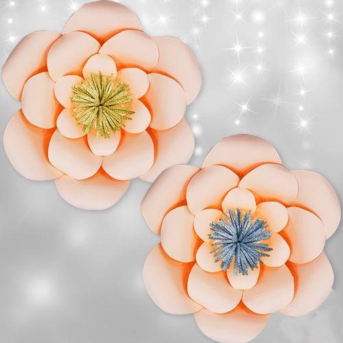 Somon Rengi Kağıt Çiçek 1 Adet (30 cm)