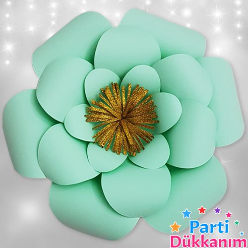 Su Yeşili Kağıt Çiçek 1 Adet (30 cm), fiyatı