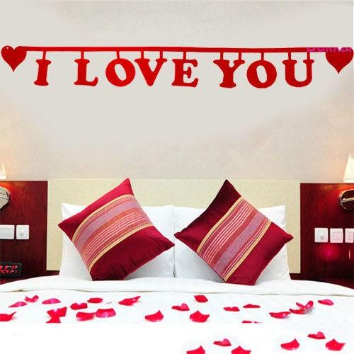 I Love You Yazısı Keçe Süs 111 cm