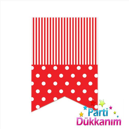 Puantiyeli Bayrak Süs Kırmızı (12x17cm), fiyatı