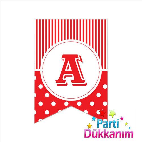 A - Harf Puantiyeli Bayrak Süs Kırmızı (12x17cm)