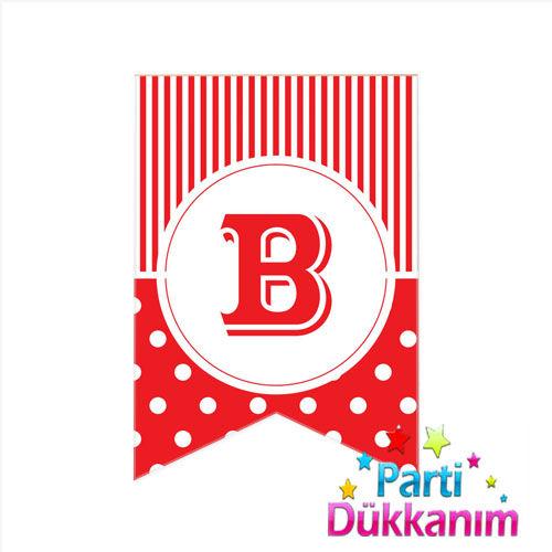 |B| Harf Pauntiyeli Bayrak Süs Kırmızı (12x17cm)