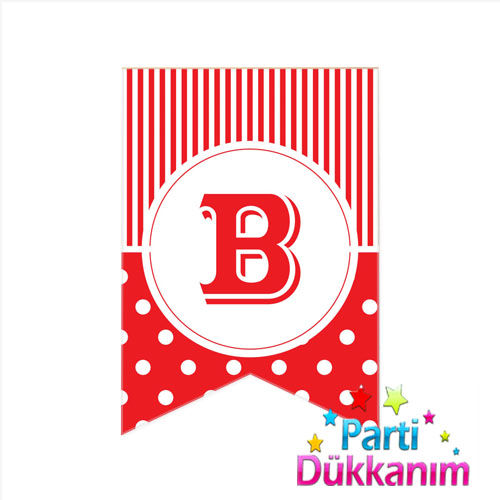 B - Harf Puantiyeli Bayrak Süs Kırmızı (12x17cm)