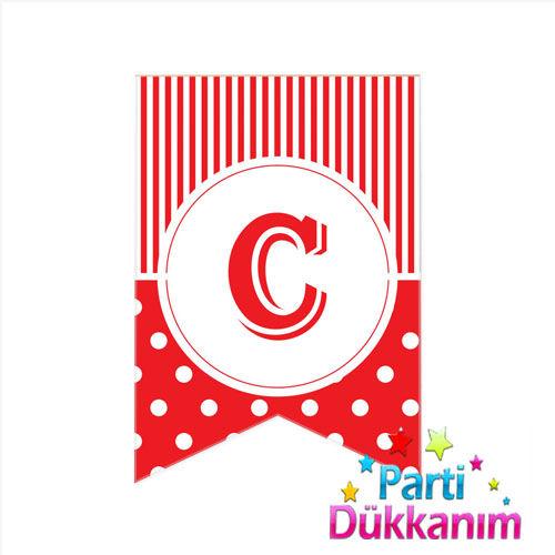 C -Harf Puantiyeli Bayrak Süs Kırmızı (12x17cm)