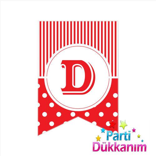 D -Harf Puantiyeli Bayrak Süs Kırmızı (12x17cm)