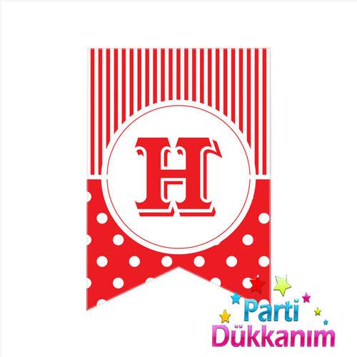 H -Harf Puantiyeli Bayrak Süs Kırmızı (12x17cm)
