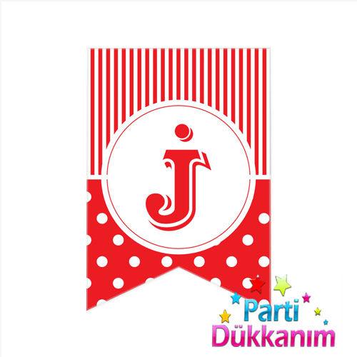 |J| Harf Pauntiyeli Bayrak Süs Kırmızı (12x17cm)