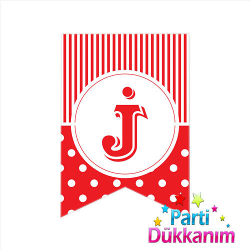 J -Harf Puantiyeli Bayrak Süs Kırmızı (12x17cm)