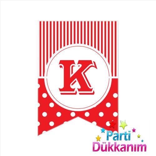 K -Harf Puantiyeli Bayrak Süs Kırmızı (12x17cm)