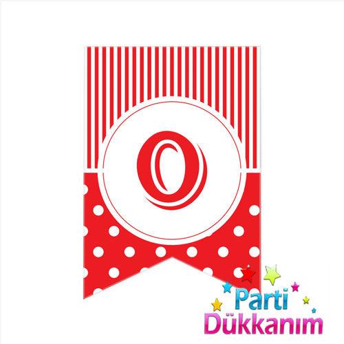 O -Harf Puantiyeli Bayrak Süs Kırmızı (12x17cm)