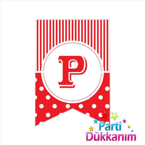 P -Harf Puantiyeli Bayrak Süs Kırmızı (12x17cm), fiyatı
