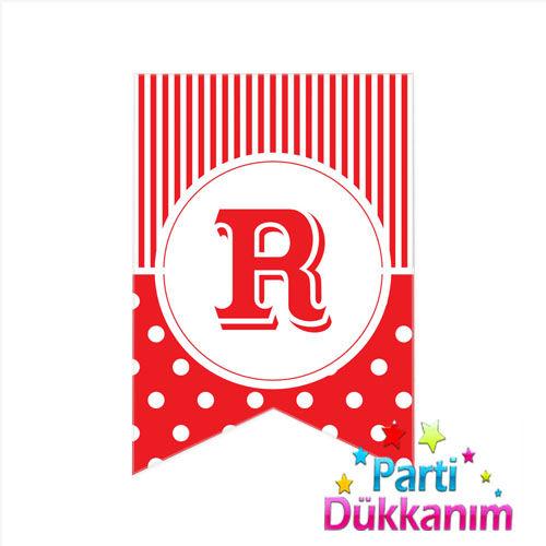 R -Harf Puantiyeli Bayrak Süs Kırmızı (12x17cm)