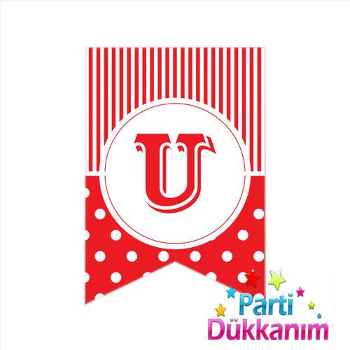 U - Harf Puantiyeli Bayrak Süs Kırmızı (12x17cm)