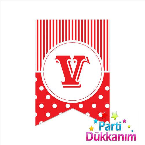 |V| Harf Puantiyeli Bayrak Süs Kırmızı (12x17cm)