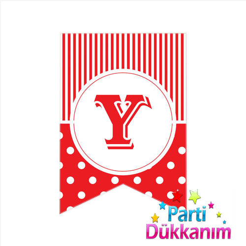 Y - Harf Puantiyeli Bayrak Süs Kırmızı (12x17cm), fiyatı