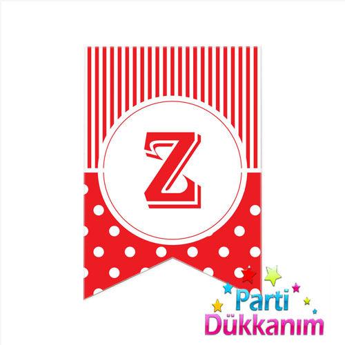Z- Harf Puantiyeli Bayrak Süs Kırmızı (12x17cm), fiyatı
