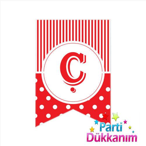 Ç -Harf Puantiyeli Bayrak Süs Kırmızı (12x17cm)
