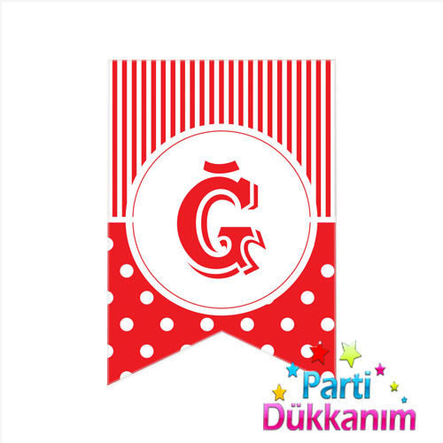 Ğ -Harf Puantiyeli Bayrak Süs Kırmızı (12x17cm)