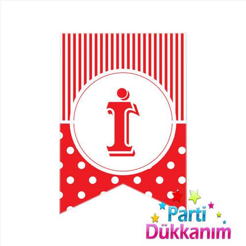 İ -Harf Puantiyeli Bayrak Süs Kırmızı (12x17cm)