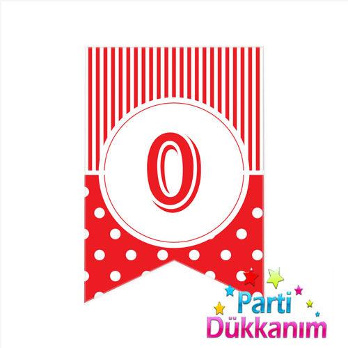 0 - Rakam Puantiyeli Bayrak Süs Kırmızı (12x17cm)