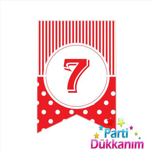7 - Rakam Puantiyeli Bayrak Süs Kırmızı (12x17cm)