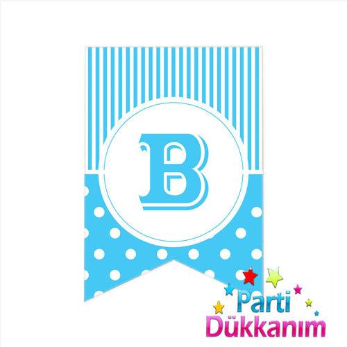 B - Harf Puantiyeli Bayrak Süs Mavi (12x17cm)