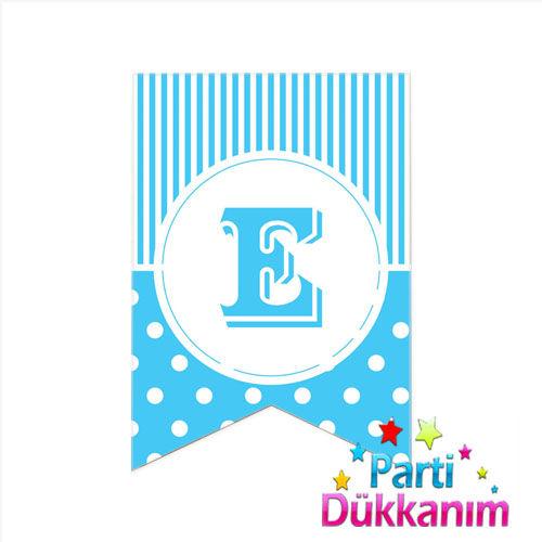 |E| Harf Puantiyeli Bayrak Süs Mavi (12x17cm)