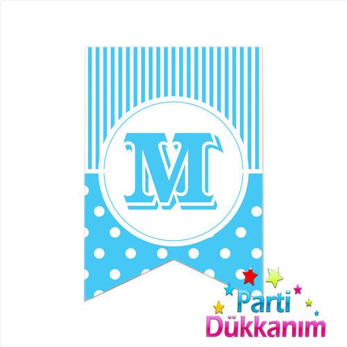 M -Harf Puantiyeli Bayrak Süs Mavi (12x17cm)