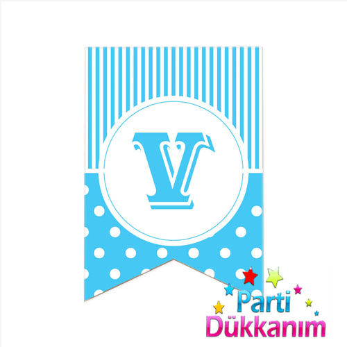 V - Harf Puantiyeli Bayrak Süs Mavi (12x17cm)