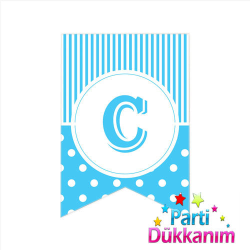 C -Harf Puantiyeli Bayrak Süs Mavi (12x17cm)