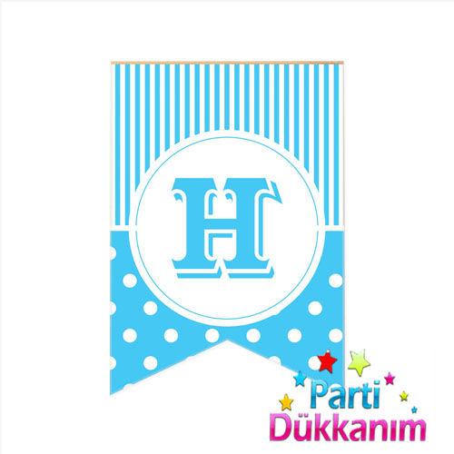 H -Harf Puantiyeli Bayrak Süs Mavi (12x17cm)