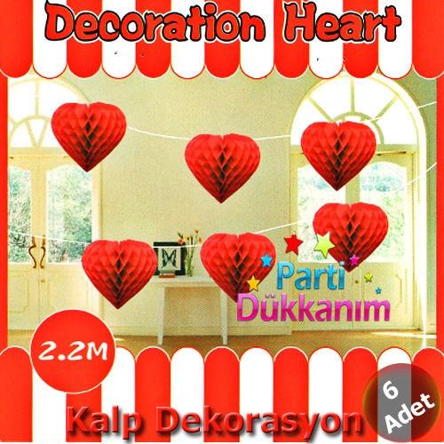 Sıralı Kalpli Kırmızı Petek Süs 6 Adet (220 cm)