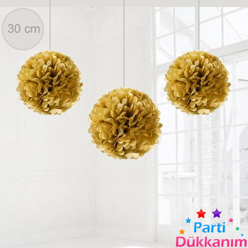 Altın Renkli PonPon Süs (30 cm)