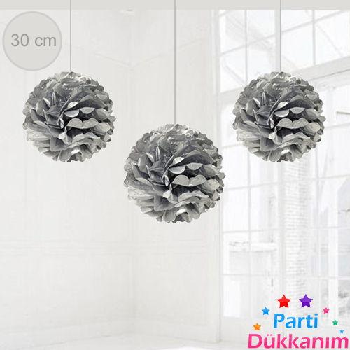 Gümüş Renkli PonPon Süs (30 cm)