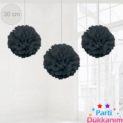 Siyah PonPon Süs (30 cm)