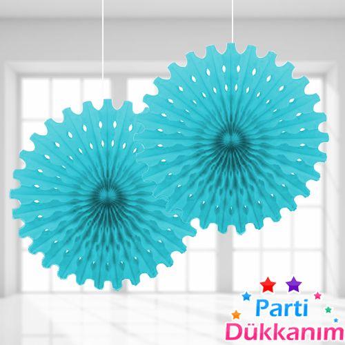 Açık Mavi Yelpaze Süs (50 cm)