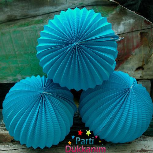 Açık Mavi Yuvarlak Fener Süs 1 adet (23 cm)