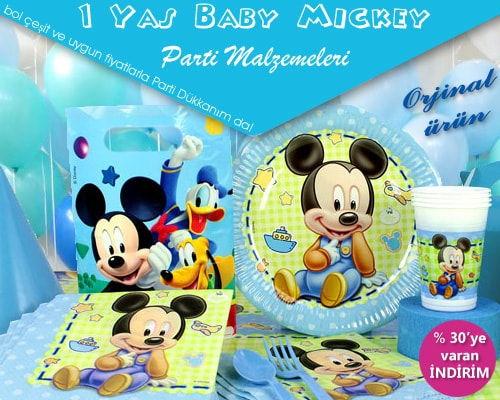 1 Yaş Mickey Mouse Parti Malzemeleri