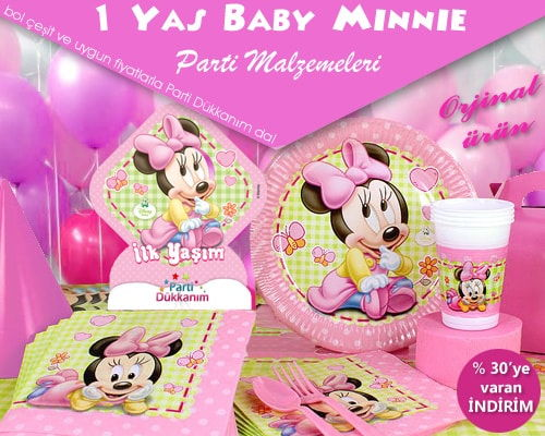 1 Yaş Minnie Mouse Parti Malzemeleri