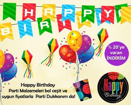 Happy Birthday Parti Malzemeleri