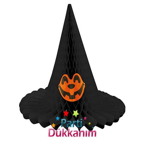 Cadılar Bayramı Halloween Şapka Petek Süs Siyah