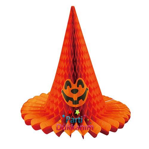 Cadılar Bayramı Halloween Şapka Petek Süs Turuncu