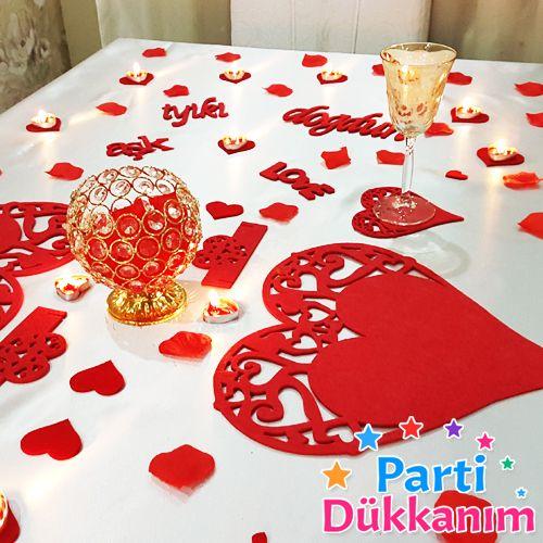 Sevgiliye Sürpriz Romantik Masa Süsleme Seti Keçeden, fiyatı