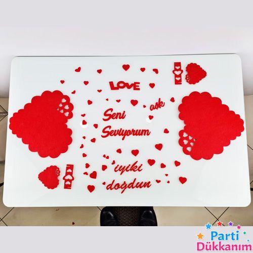 Sevgiliye Sürpriz Romantik Masa Süsleme Seti Keçeden