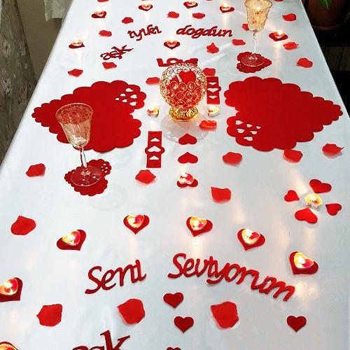 Sevgiliye Özel Masa Süsleme Seti Keçeden
