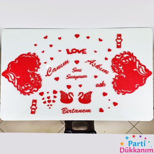 Kalp Dantel Desenli Masa Süsleme Seti Keçeden, fiyatı
